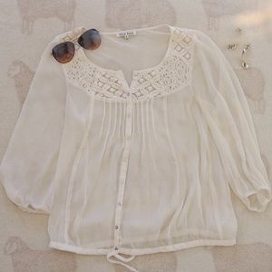 Sheer | Cream Peasant Blouse